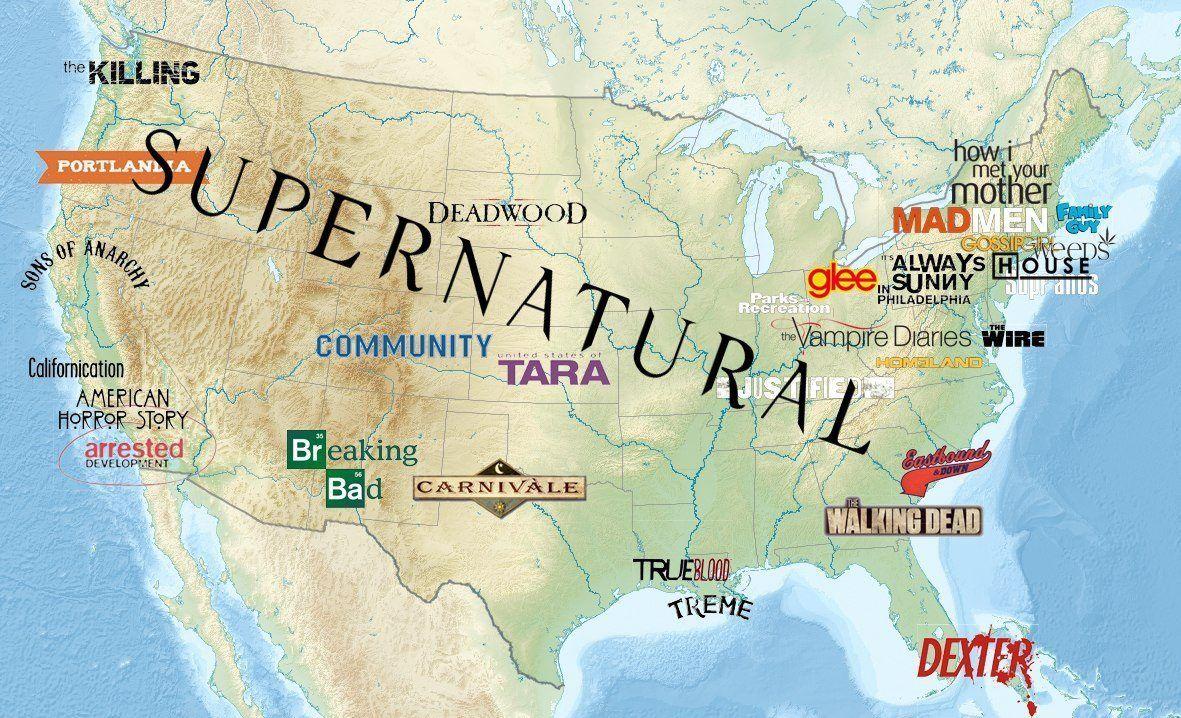 La Carte Des Etats Unis Des Series Tv Serie Televisee Americaine