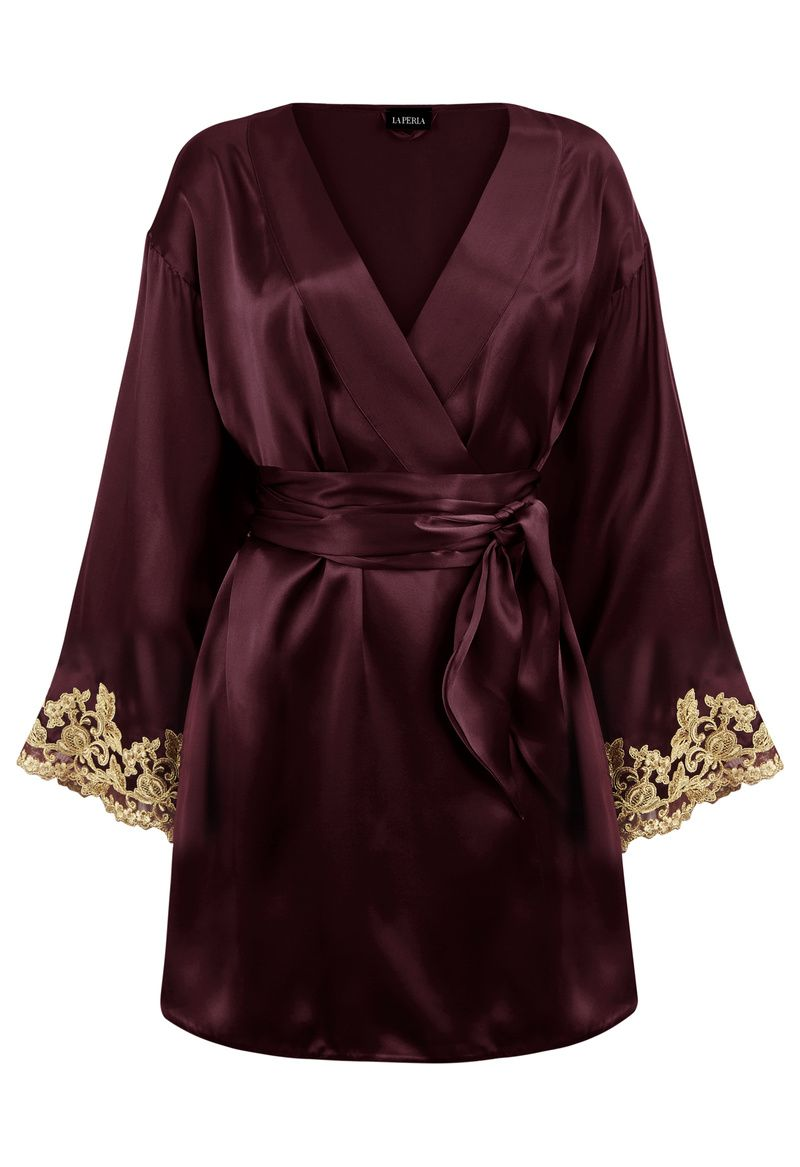 Maison Bordeaux Red Silk Satin Short Robe With Frastaglio  7574f19f2