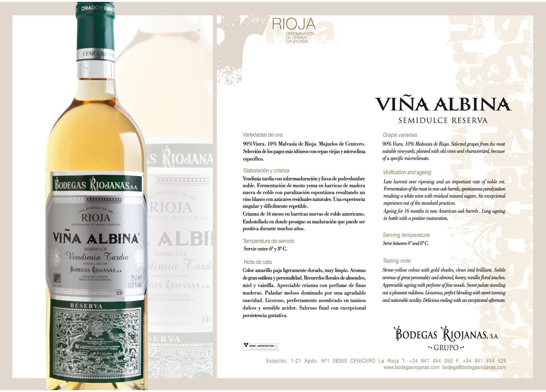 Vina Albina Blanco Semidulce Reserva Vinaalbina Wine