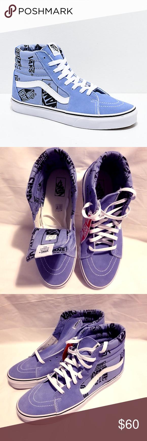 Vans Sk8 Hi Logo Mix Lavender & Black Skate Shoes Vans Sk8