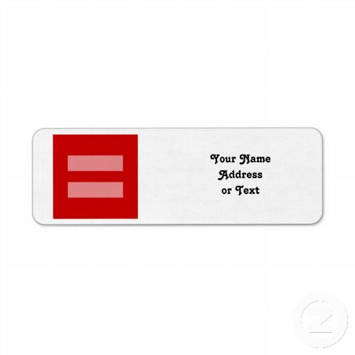 Sold Red Equal Sign Symbol Return Address Label By Symbolical