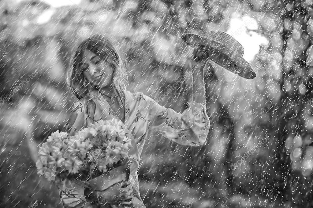Summer Rain Romance Girl Happiness Weather Rain Summer Mood Happy - Stock , #AD, #Romance, #Girl, #Summer, #Rain #AD