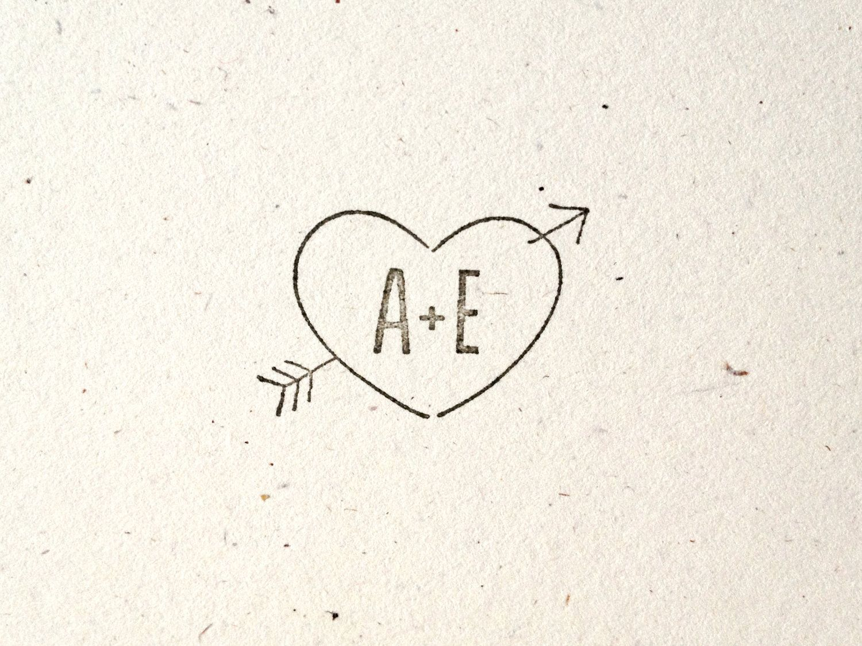 woodsy wedding stamp arrow through heart tree folk nature