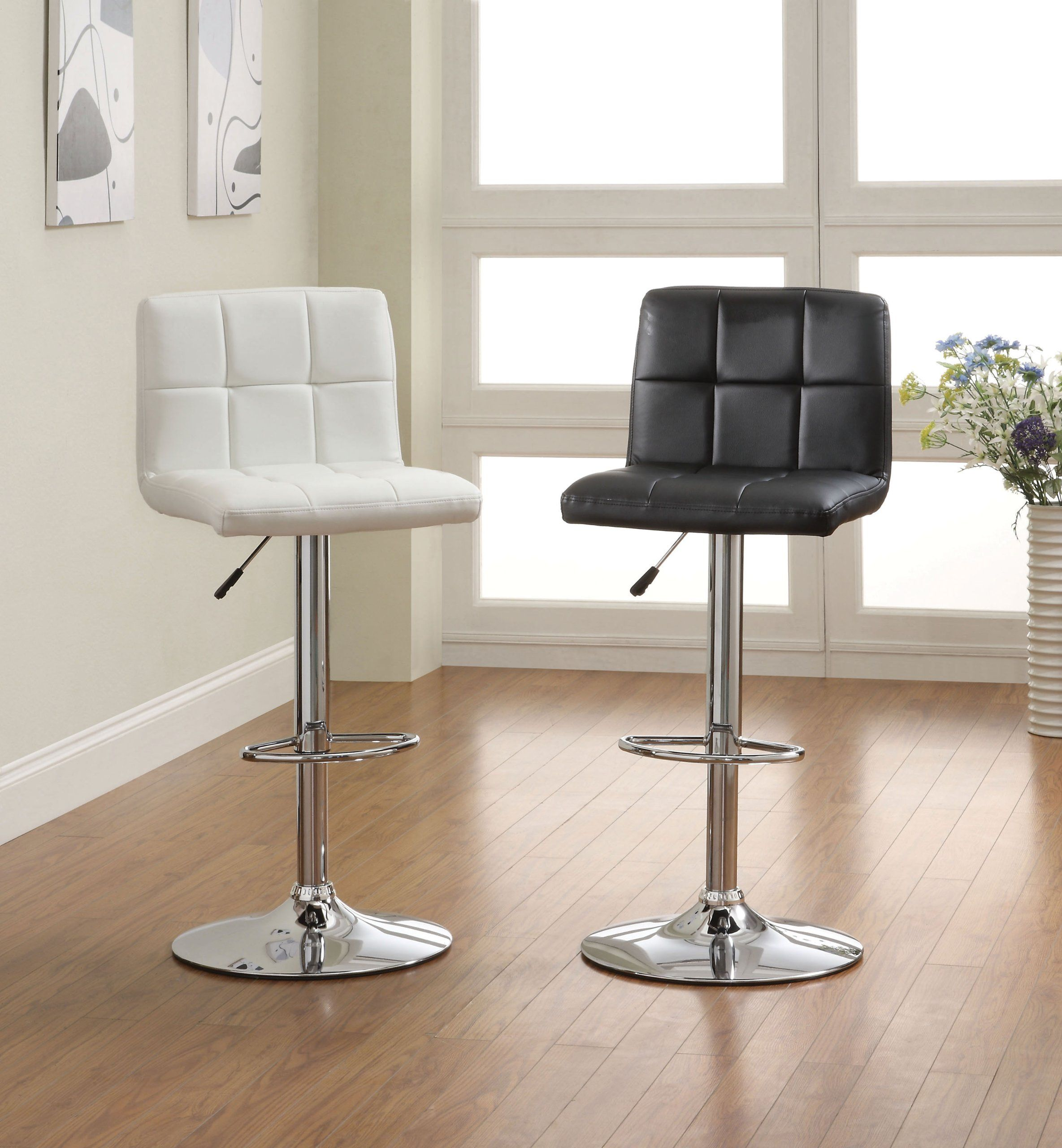 Pepperton Tufted Swivel Counter Stool In 2019: Roundhill Swivel Black Leather Adjustable