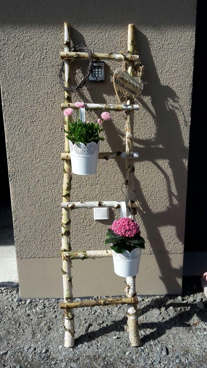 Dekoleiter Aus Birkenstammen Dekoleiter Diy Garten Gartendekoration