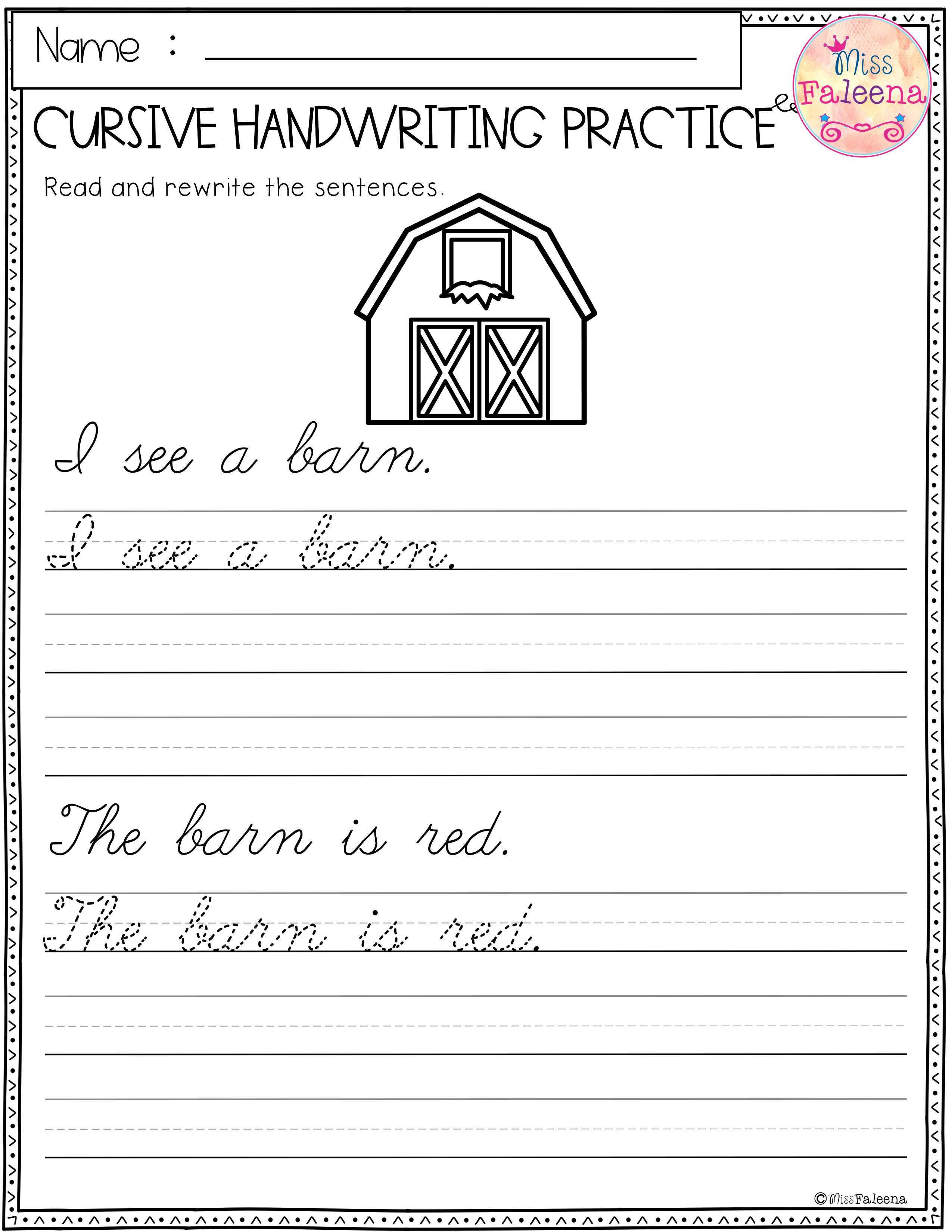 Free Cursive Handwriting This Product Has 5 Pages Of Cursive Handwriting Worksheets Thi Cursive Handwriting Practice Cursive Handwriting Handwriting Practice