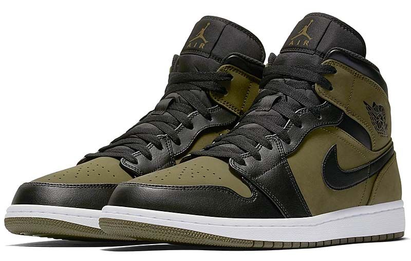 aef12dd28bb NIKE AIR JORDAN 1 MID [OLIVE CANVAS / BLACK-WHITE] 554724-301 | 鞋 ...