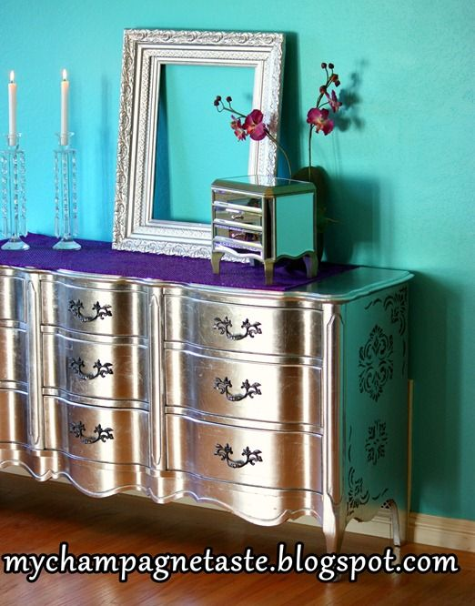 diy metallic furniture. DIY Silver Leaf Dresser I Would Love To Make This And Sell It! It Cost A Fortune In Leaf, Though. Diy Metallic Furniture O