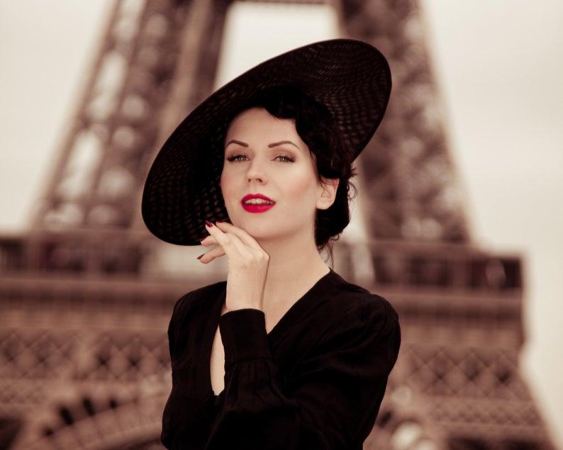Black Fascinator Ladies Hat, New Look 50s