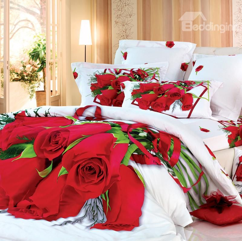 Luxury Red Roses Print 4 Piece Bedding Sets Comforter Sets Bed