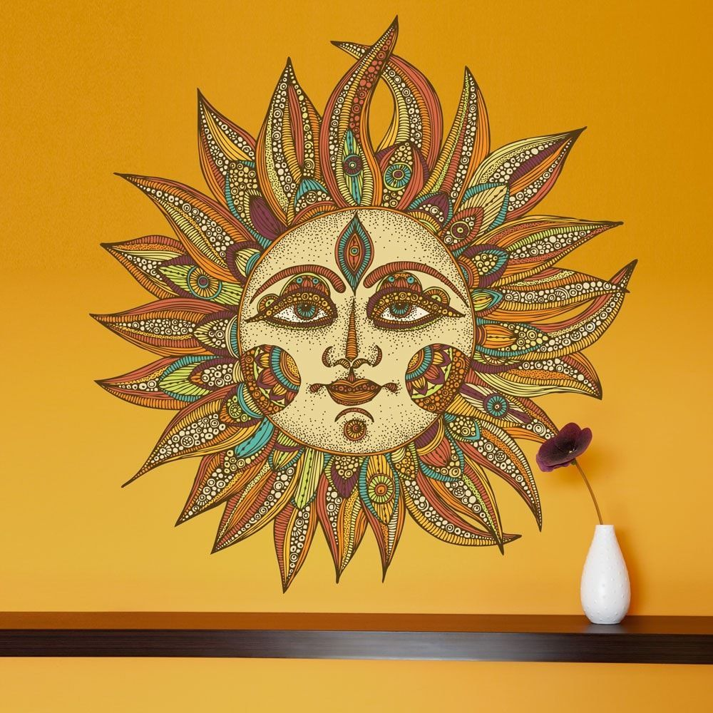 celestial sun art wall sticker decal helios by valentina on wall stickers painting id=65682