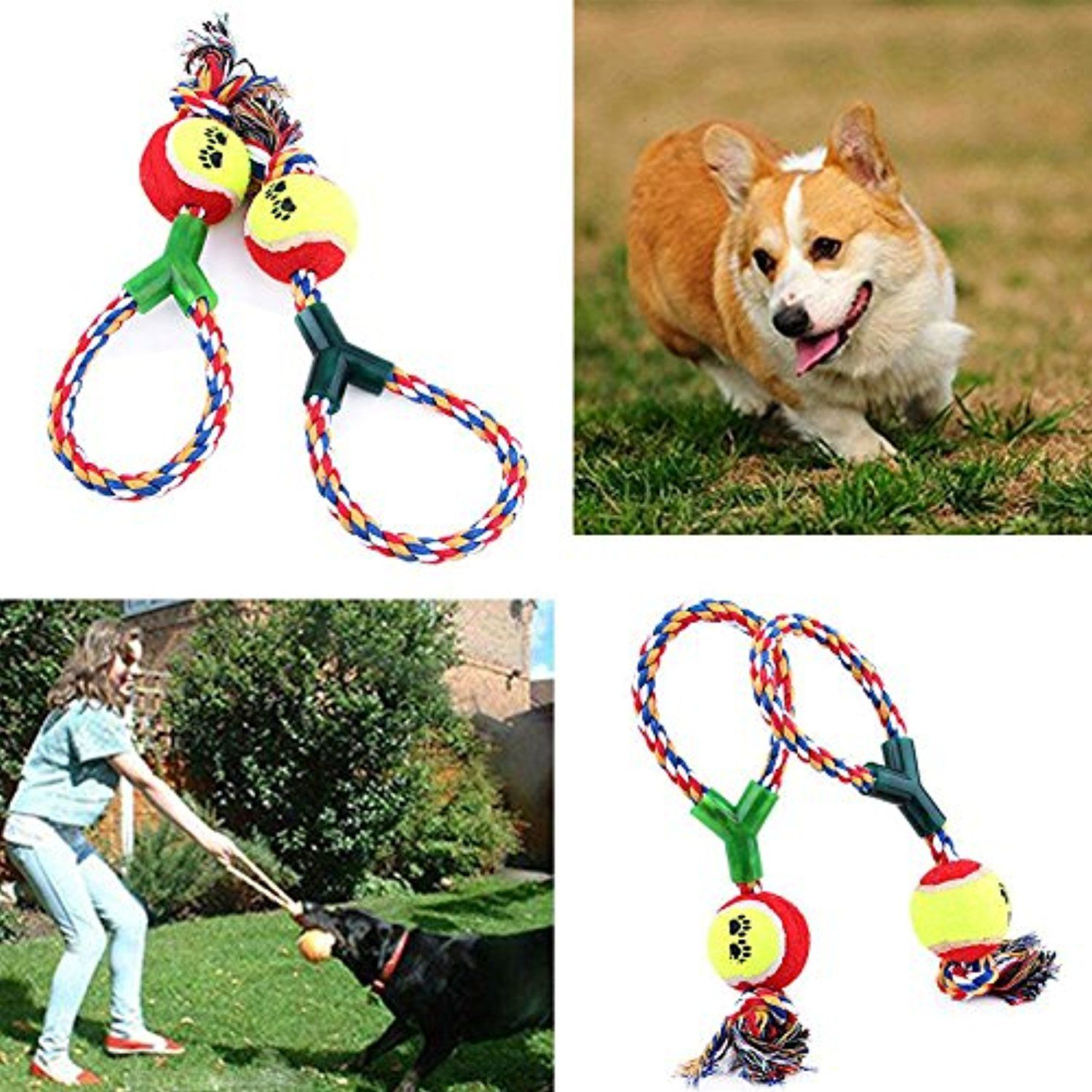 1pc Toy Ball With Rope For Dogs Dental Treat Bite Resistant