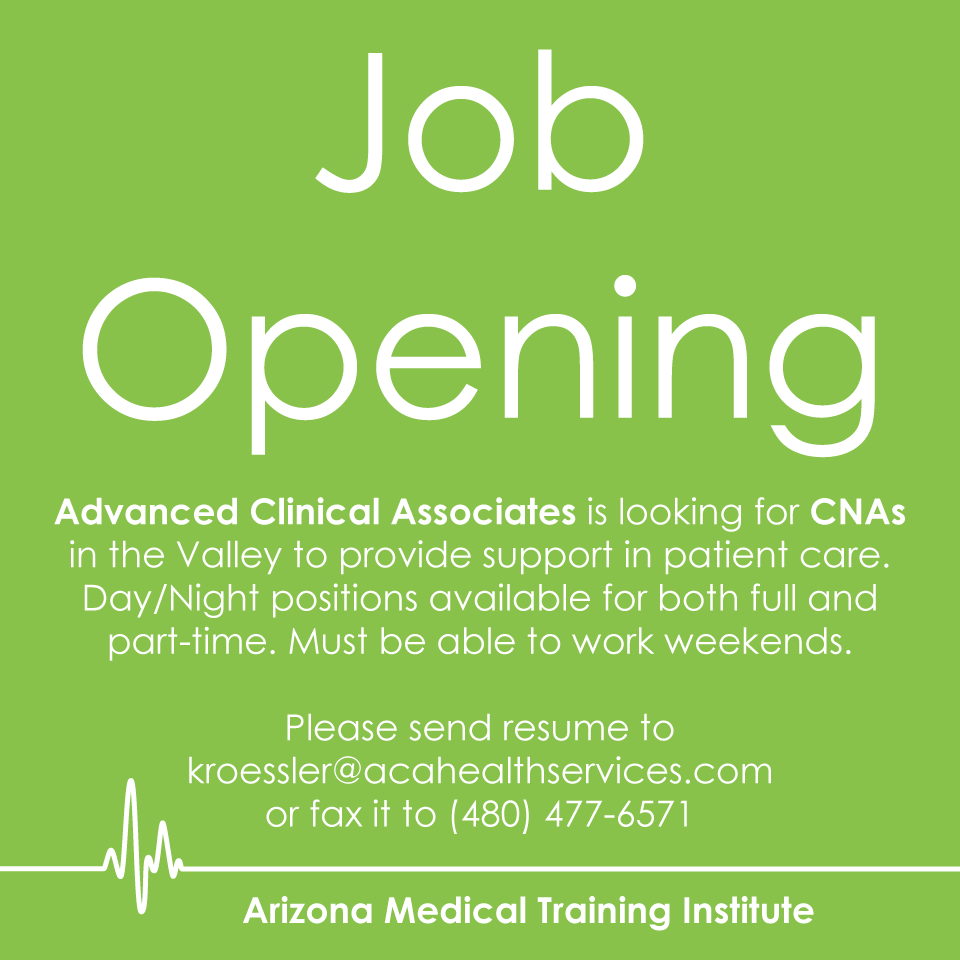 ACA is in immediate need of CNAs. Hiring both full and