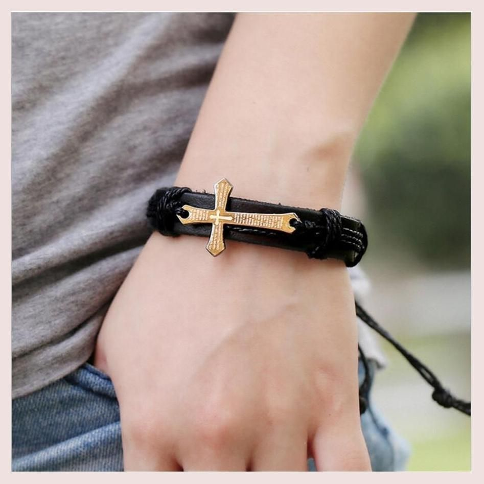Leather bracelet with cross products pinterest leather