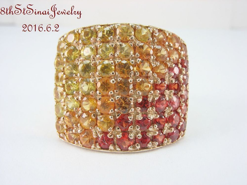 Rose Gold Vermeil Sterling Silver 925 Red, Orange & Yellow CZ Ring Size 8.25 #Unbranded #Statement