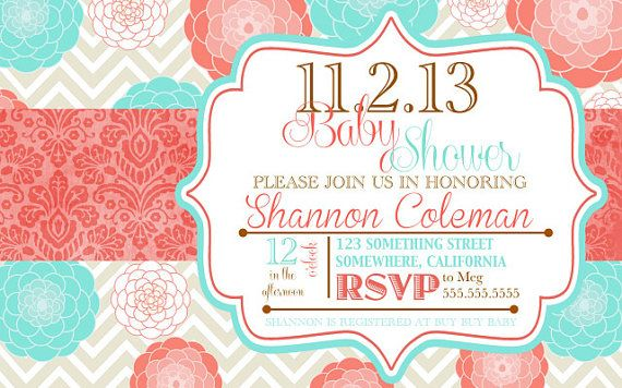 Coral And Turquoise Baby Shower Invitations Baby Shower Idea S