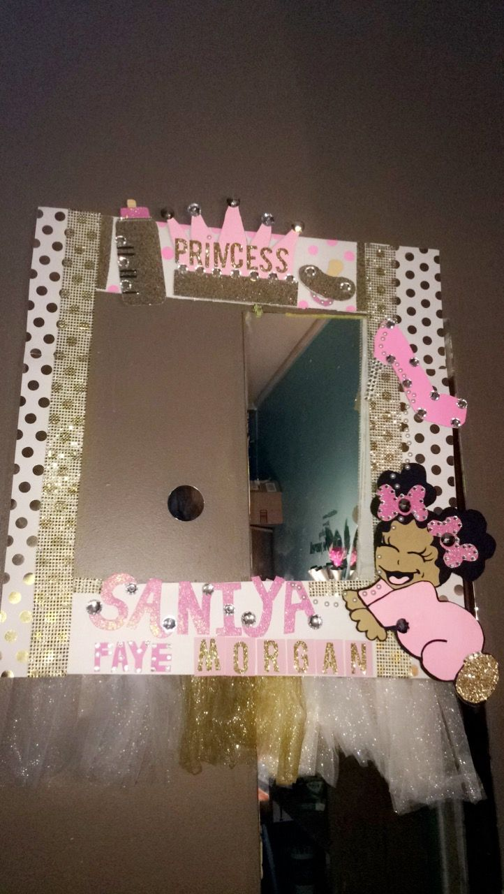 Pink And Gold Girl Baby Shower Photo Booth Frame Photo Prop Frames