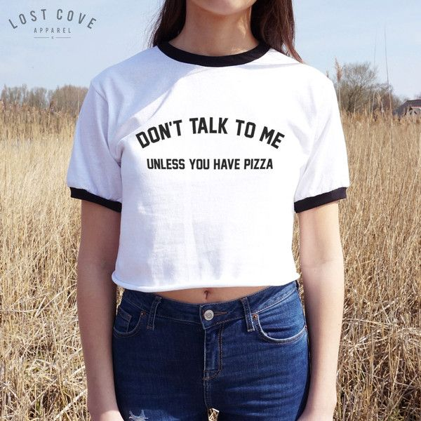 Don't Talk to Me Unless You Have Pizza Crop Ringer Tee T-Shirt Top... ($19) ❤ liked on Polyvore featuring tops, t-shirts, black, tanks, women's clothing, t shirts, shirts & tops, black t shirt, black tee and crop shirts