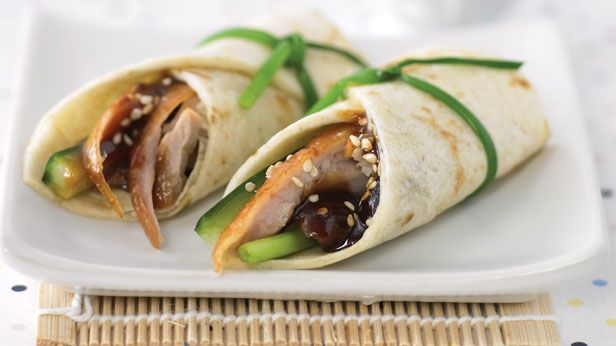 Peking duck wraps recipe 9kitchen recipes with meat for Canape wraps