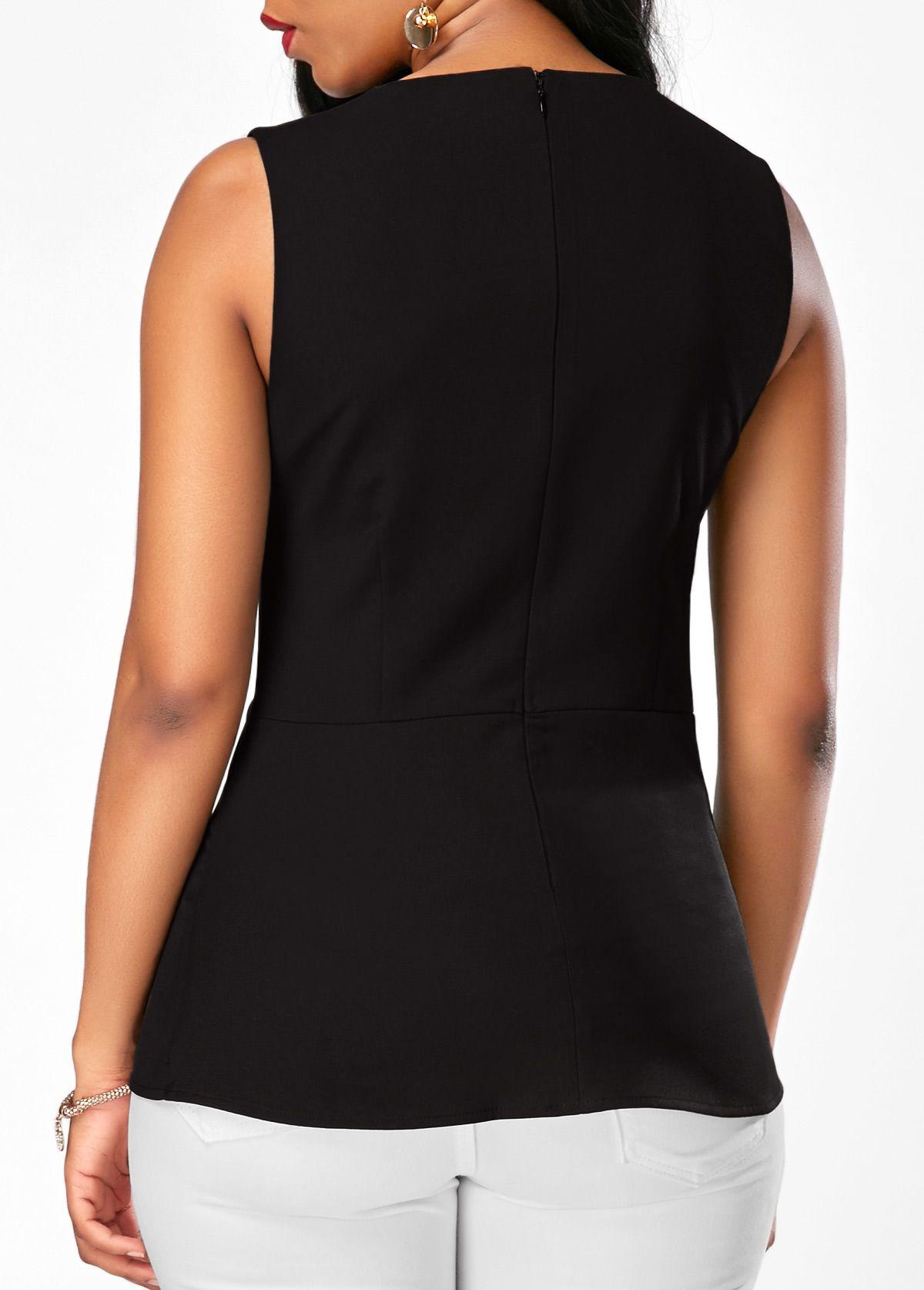 7de46d0404db Patchwork Sleeveless Black Zipper Back Blouse   Rosewe.com - USD $29.58