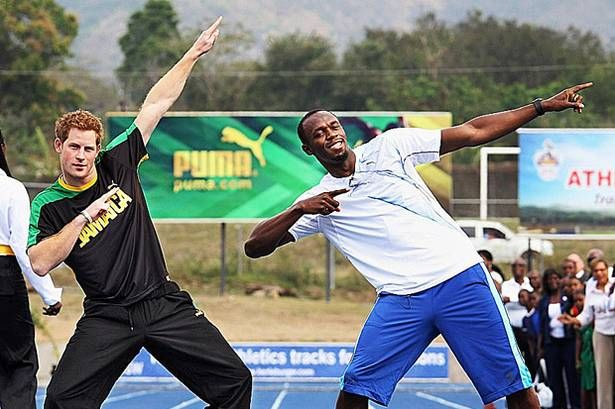 Prince Harry poses with Usain Bolt in Jamaica