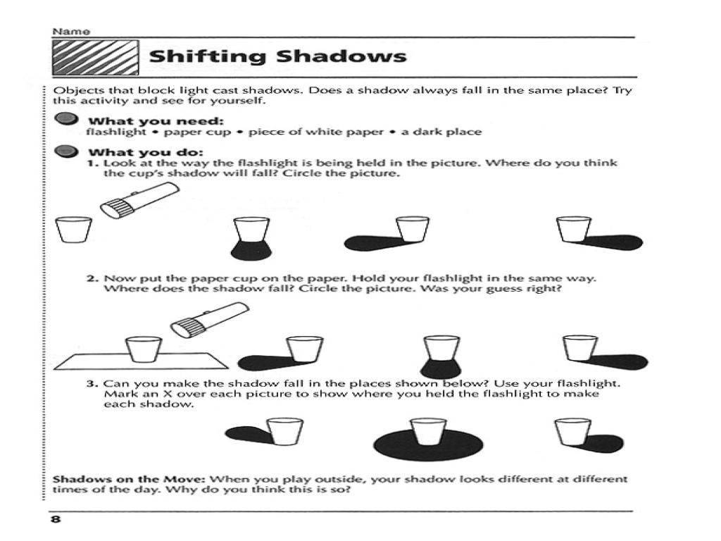 Shifting Shadows Worksheet In