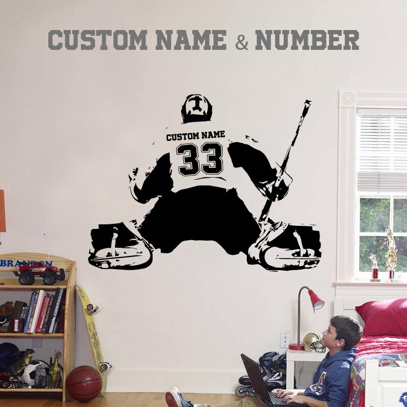 Custom Personalized Goalie Wall Decal 14 Colors Extremely Limited Hockey Bedroom Hockey Room Boys Hockey Room