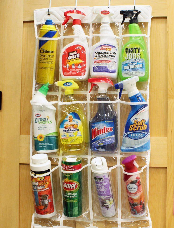 Cleaning Supplies Stored In Over The Door Shoe Organizer. Keep Toxic  Cleaners In The Top Pockets To Keep Out O Reach Of The Children.