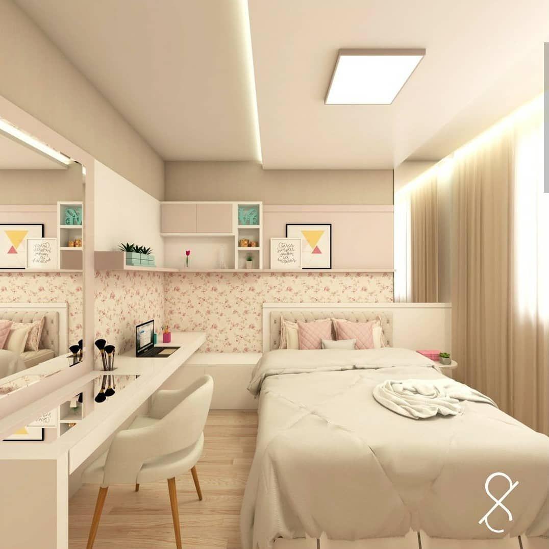 """805 curtidas, 10 comentários - Interiores e Decor (@interior.inspira) no Instagram: """"Um quarto de princesa Linhas modernas e papel de parede floral, super romântico. A sanca completa…"""""""