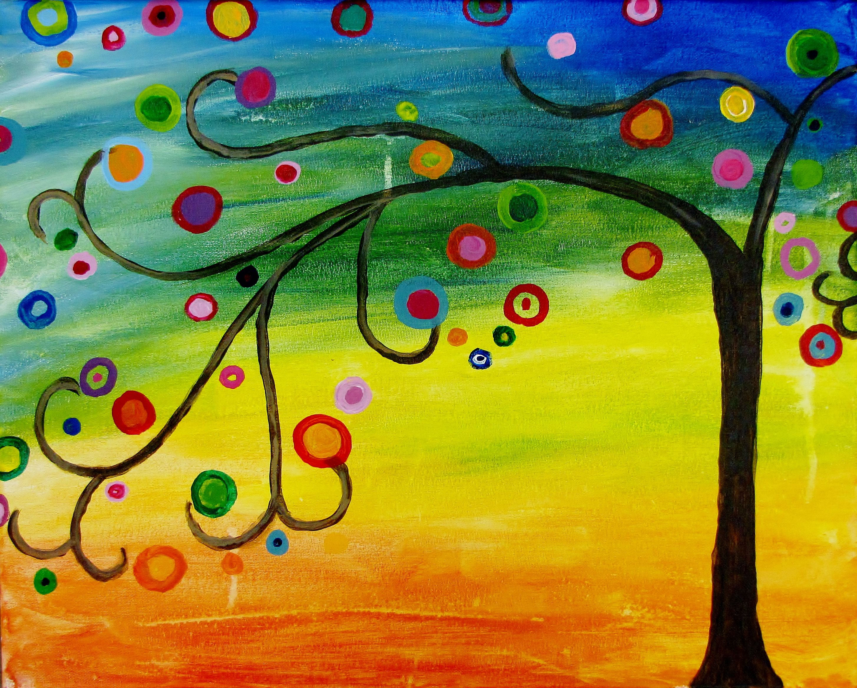 Arte Wine And Paint Wauwatosa Whimsical Tree Painting Ideas Wine Painting Painting Y Art