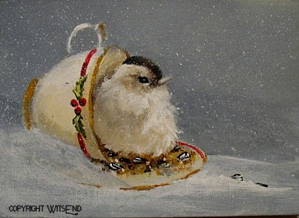 'A CUP OF CHEER - THE CHRISTMAS TREAT', original ooak painting FREE shipping. by WitsEnd, via Etsy. SOLD