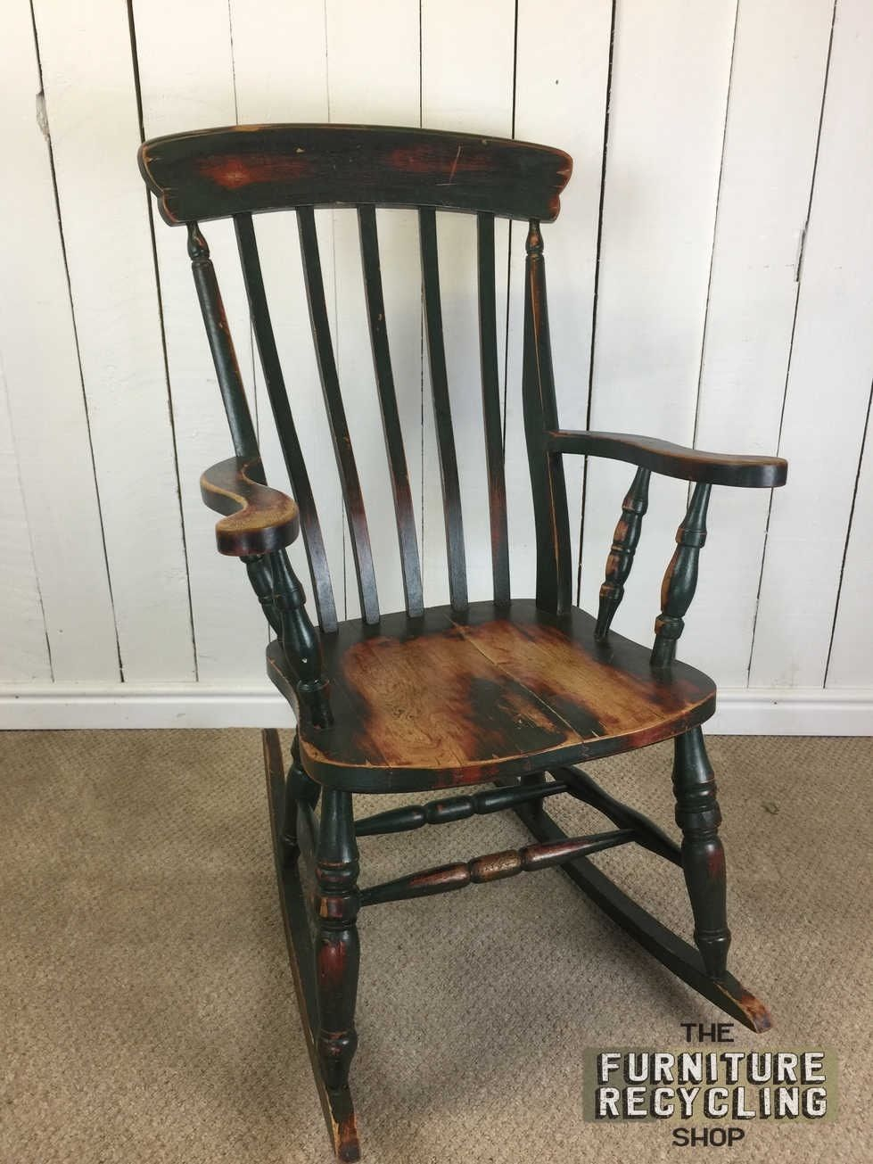 Distressed painted Solid Wood Rocking Chair. Farmhouse