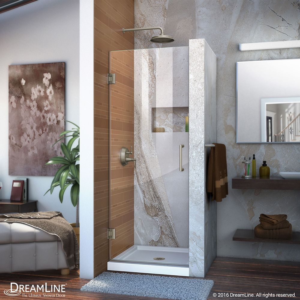 Unidoor 28 Inch X 72 Inch Frameless Hinged Pivot Shower Door In