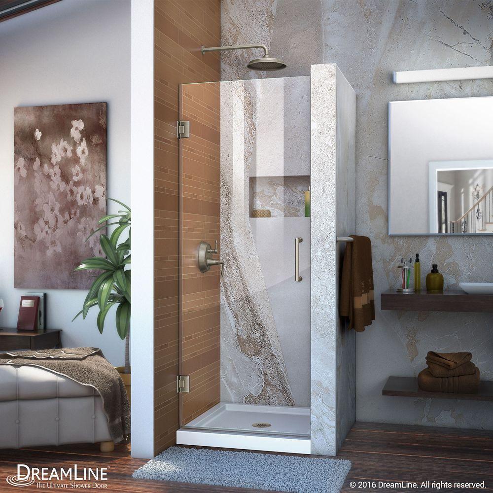 Unidoor 28-inch x 72-inch Frameless Hinged Pivot Shower Door in ...