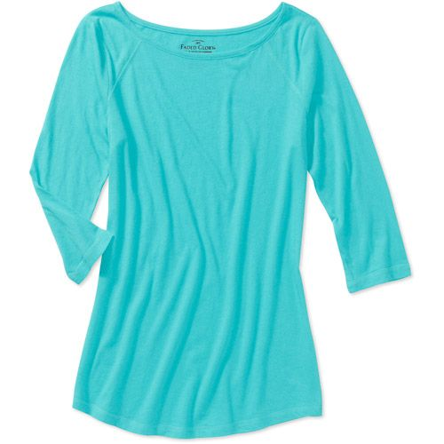 32a2435c $7.94 Walmart.com T-shirt - Ultra Aqua - available in S, M, and XL - Faded  Glory Women's 3/4 Sleeve Scoop Tee