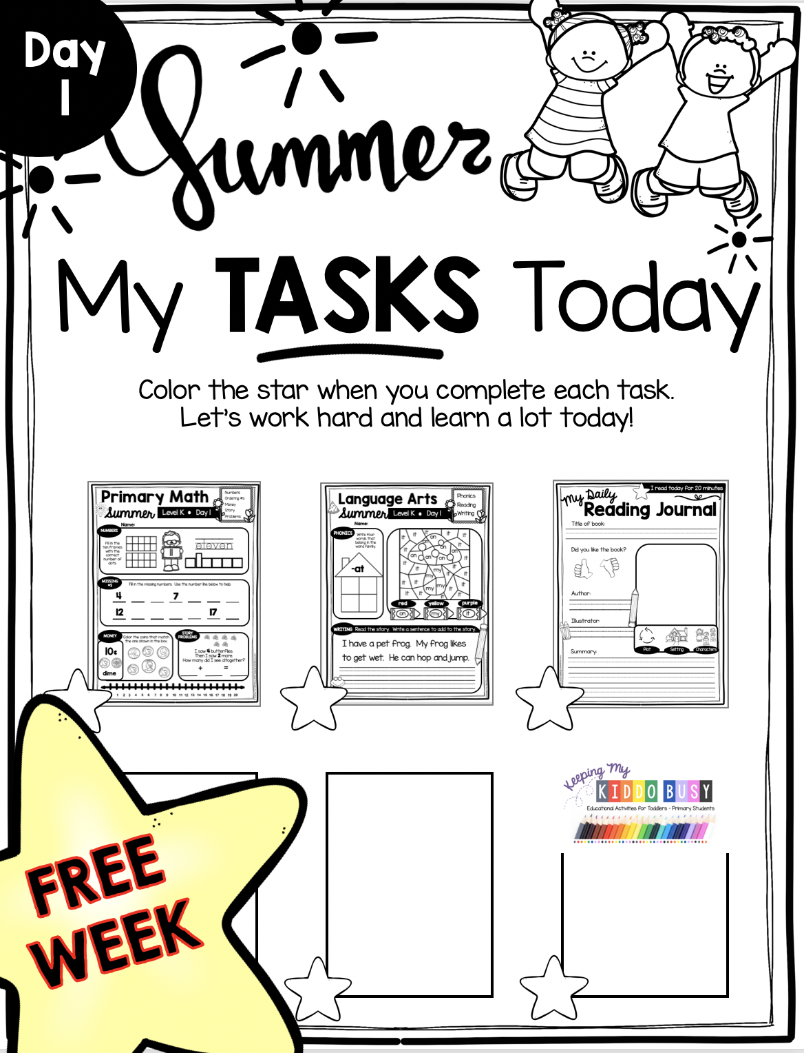 Summer Learn At Home Pack For Kindergarten And First Grade