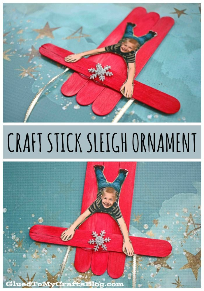 Popsicle Stick Sleigh Ornament For Kids To Make in 2020