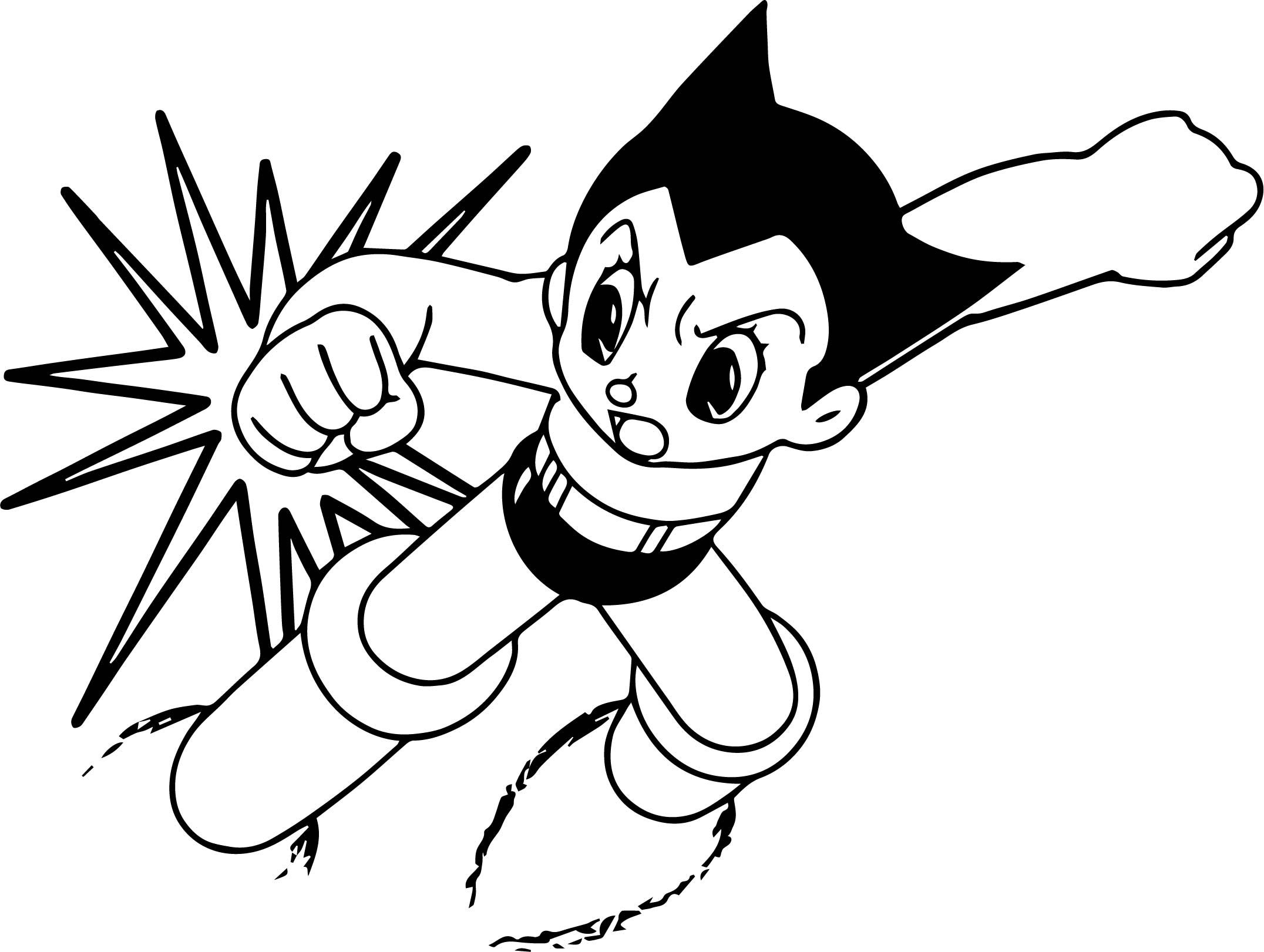 Nice Fighting Astro Boy Printable Cartoon Coloring Page Cartoon Coloring Pages Coloring Pages Boy Printable