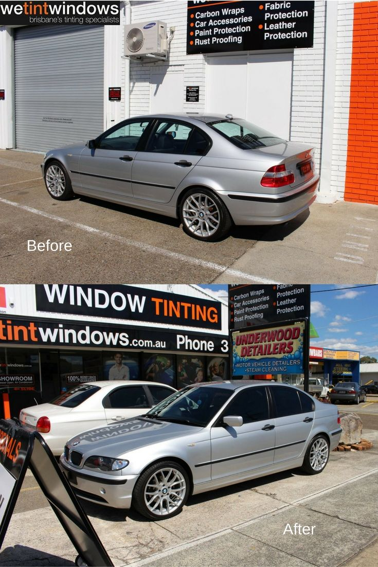 We tint windows silver bmw before and after having window film installed