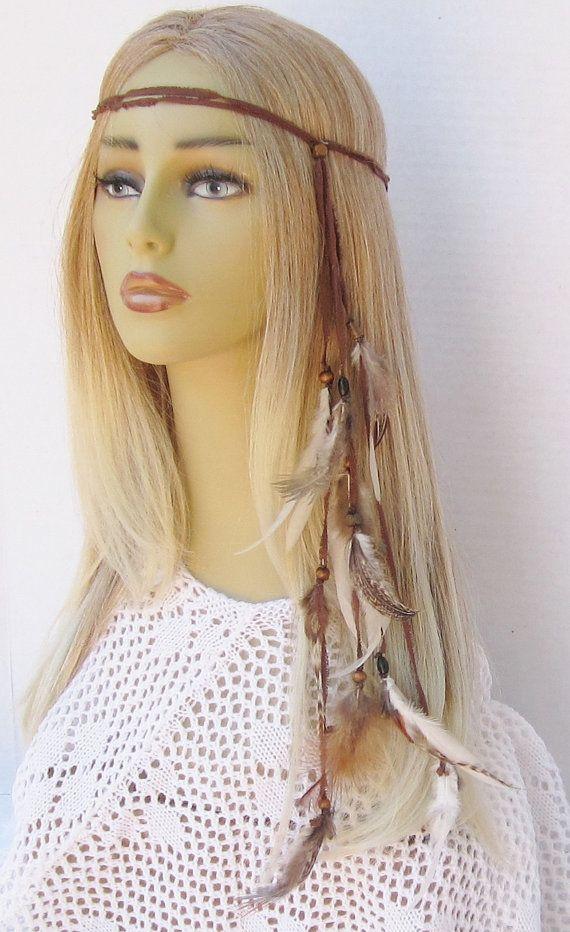 Shook Me All Night Long Hippie Headband Boho Natural Feathers