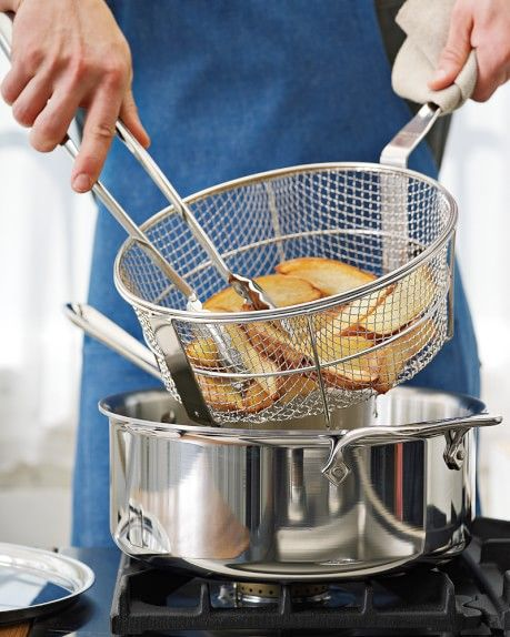 All Clad D5 Stainless Steel Deep 6 Qt Saute Pan With Fry Basket Tongs Cool Kitchen Gadgets Cookware Set Kitchen Essentials All clad 6 quart saute pan