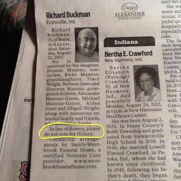 My friend just found this in the obituaries…