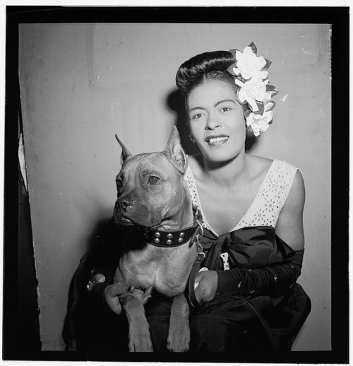 Billie Holiday and her dog, Mister. Photograph by William Gottlieb, New York, 1948.