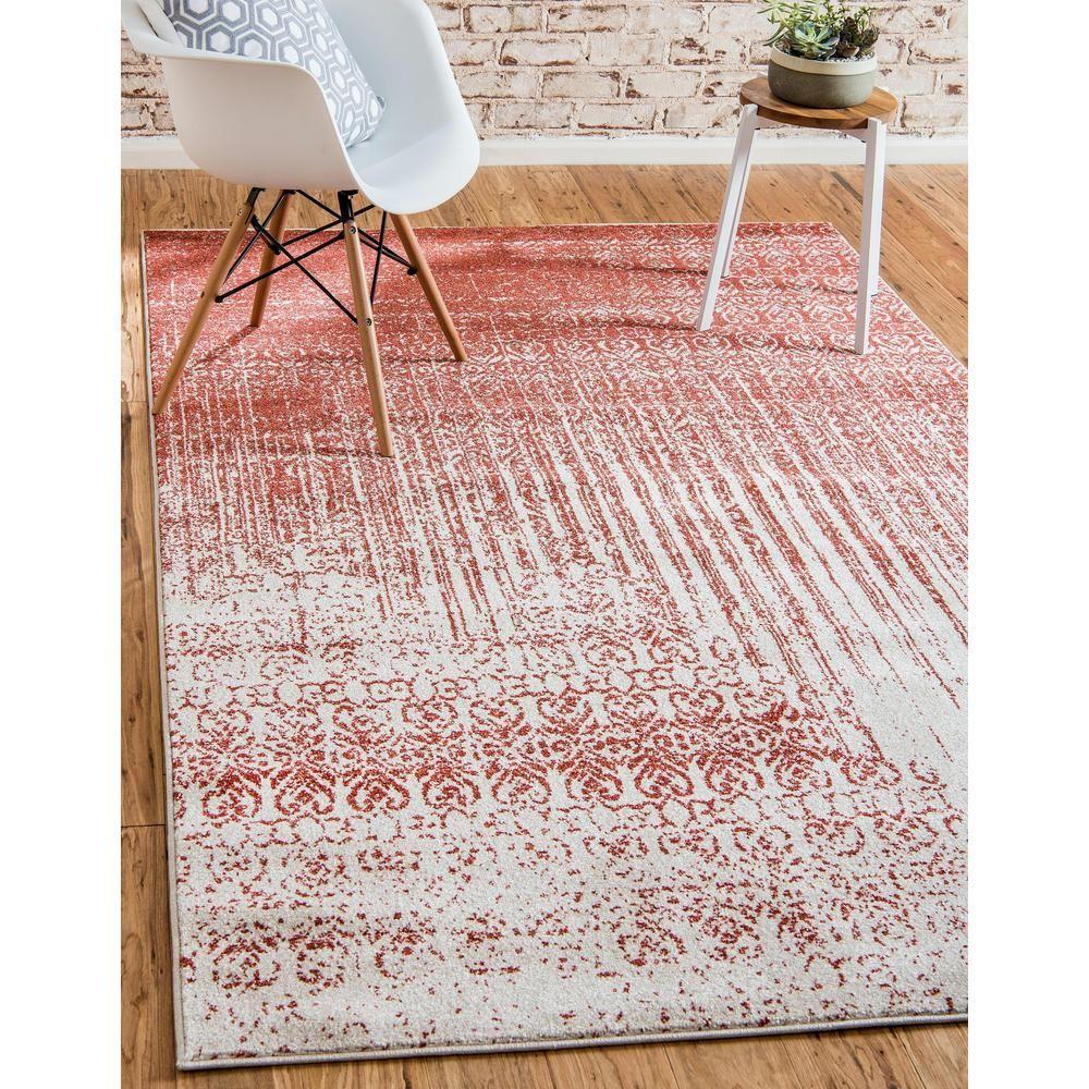 Unique Loom Del Mar Jennifer Red 5' 0 X 8' 0 Area Rug