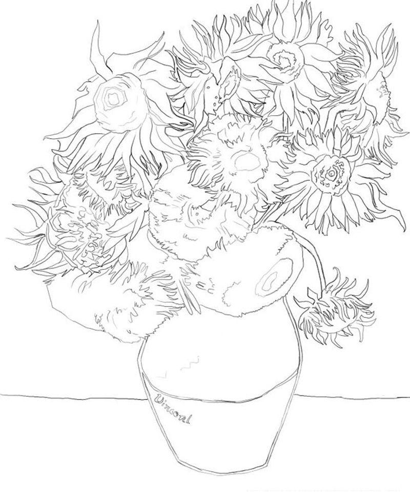 Goghsunflowers coloring pages pinterest van gogh for Quadri famosi da colorare van gogh