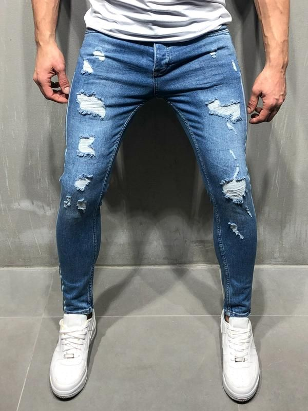 Men Burnout Distressed Ripped Jeans  Blue 4090 is part of Denim jeans men - This item will be delivered in  23 Business days + Easy and free return   PRODUCT FEATURES Men's Streetwear Jeans, Blue Jeans, Distressed, Random Ripped, Stonewashed, Side Stripes, Casual, Skinny Fit, 5 Regular Pockets, Button Fastening, Street Fashion   MATERIALS Street fashion men's striped jeans are made up of