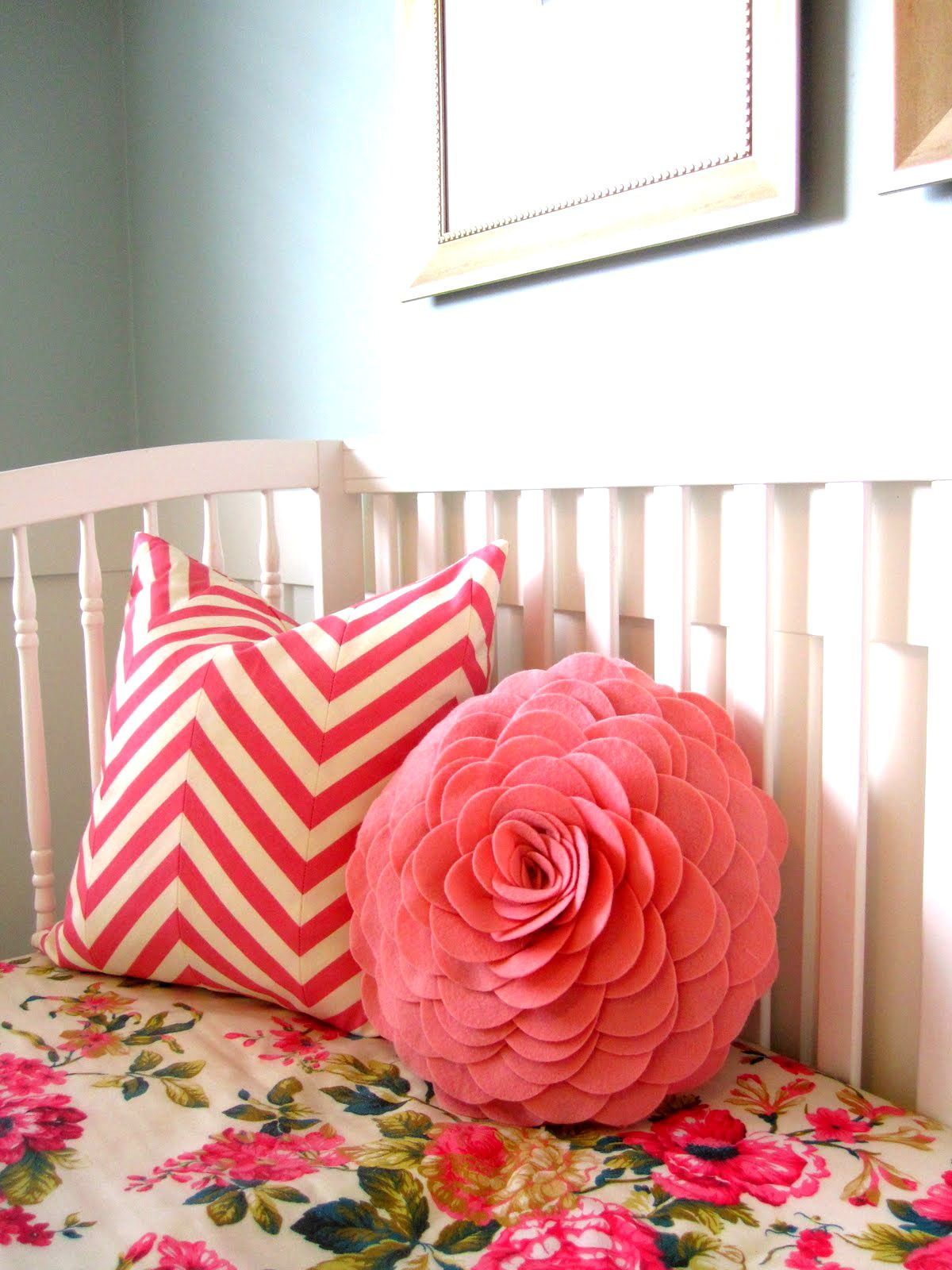 Floral Crib Sheet And Darling Pillows Girl Nursery Baby