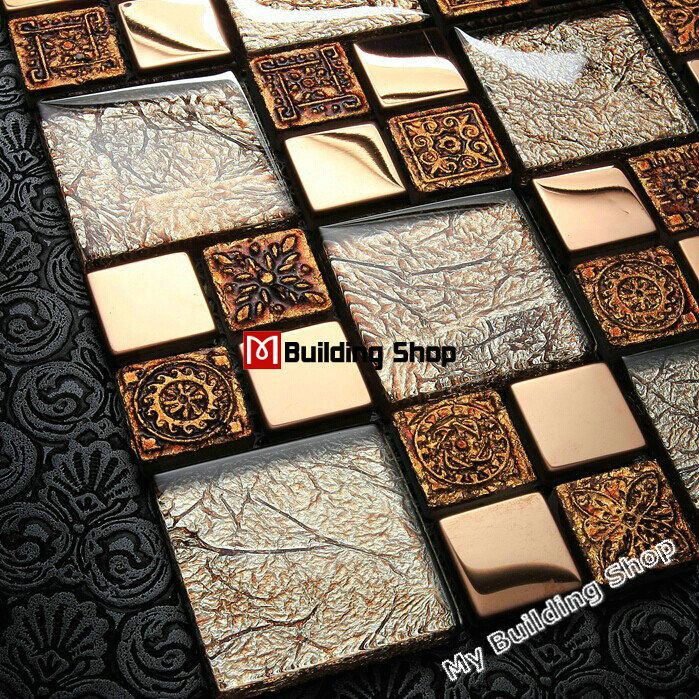 Crystal glass mosaic wall tile SSMT309 gold mosaics for bathroom ...