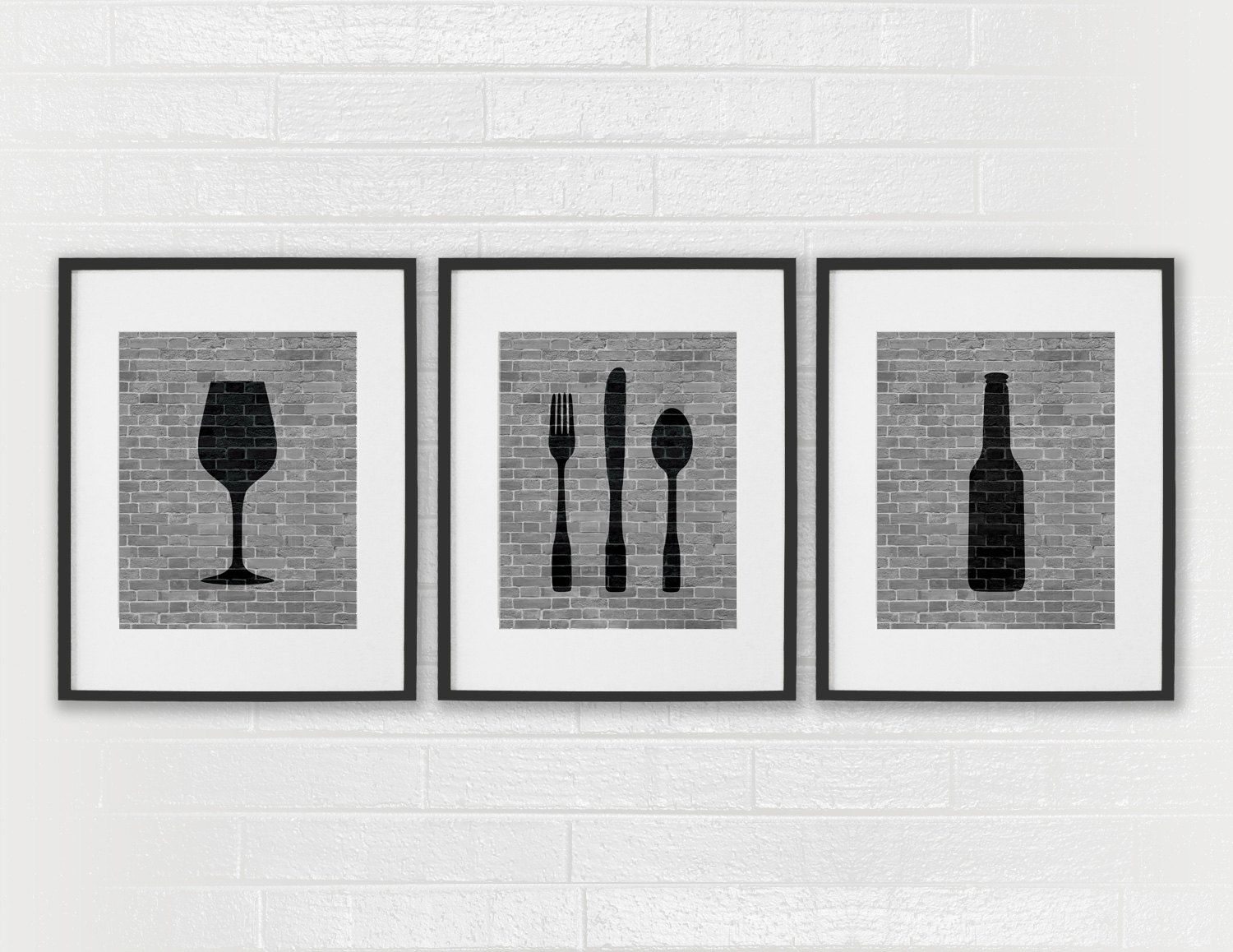 Captivating Modern Dining Room Art Prints   Black U0026 White Kitchen   Beer Wine Fork  Knife Spoon   Set Of 3 Dining Room Art   Kitchen Wall Decor