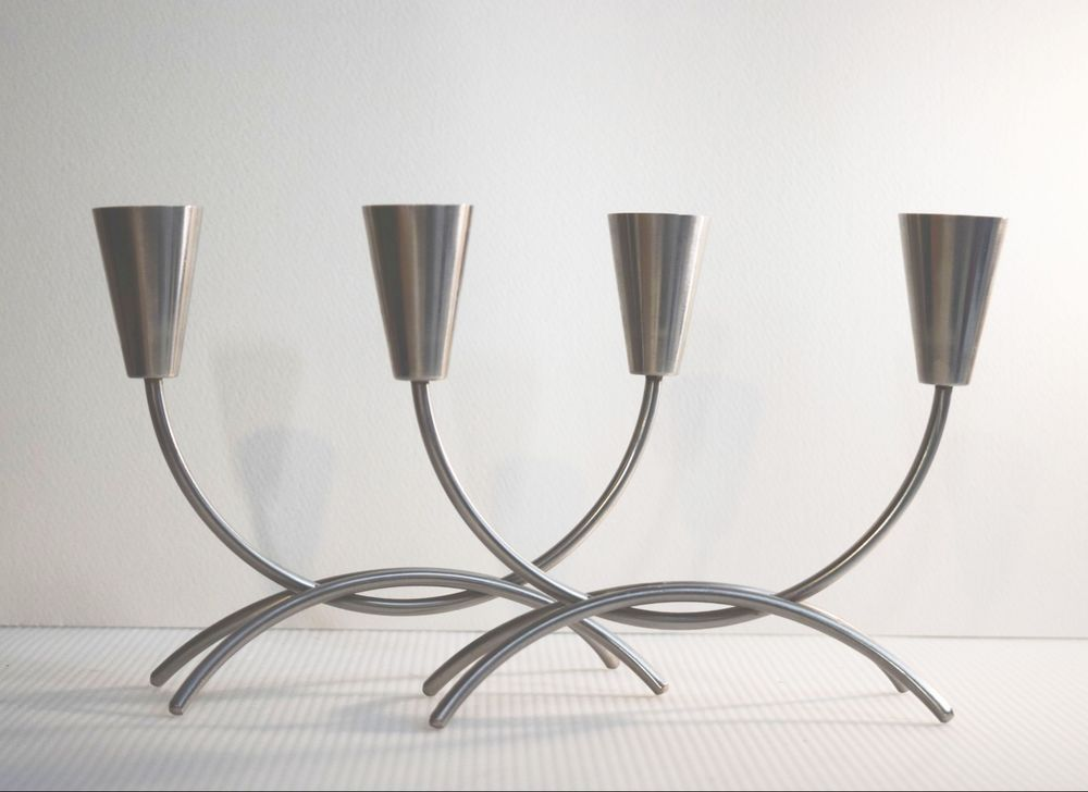 Danish Modern Pair 2 Stainless Steel Mcm Double Candle Holders Candelabras Mint